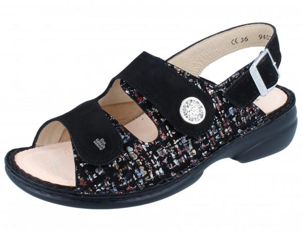FINN COMFORT FINNSTRETCH Isera Damen Sandale black/schwarz Braid/Nubuk/Stretch