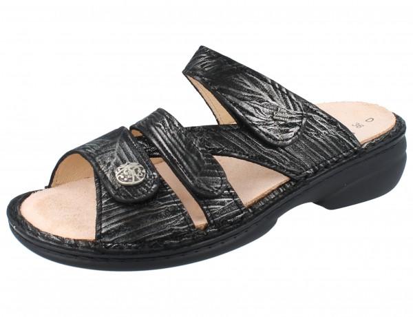 FINN COMFORT Ventura Soft Damen Pantolette schwarz/silber silver/Crumble