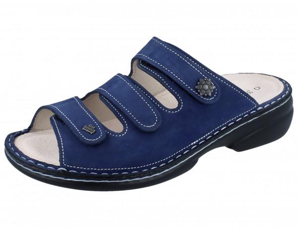 FINN COMFORT Menorca Soft Damen Pantolette blau kobalt/Nubuk