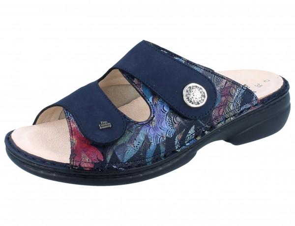 FINN COMFORT FINNSTRETCH Zeno Damen Pantolette blau darkblue Irpino/Stretchcamo