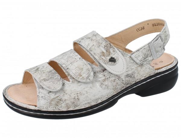 FINN COMFORT Saloniki Damen Sandale grau stone/bianco Berna/Nubuk