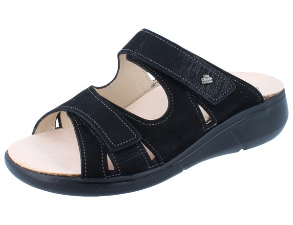 FINN COMFORT Palau Damen Pantolette schwarz Nubuk/Waving