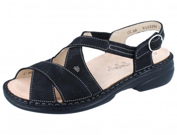 FINN COMFORT Binz-Soft Damen Sandale schwarz/Waving