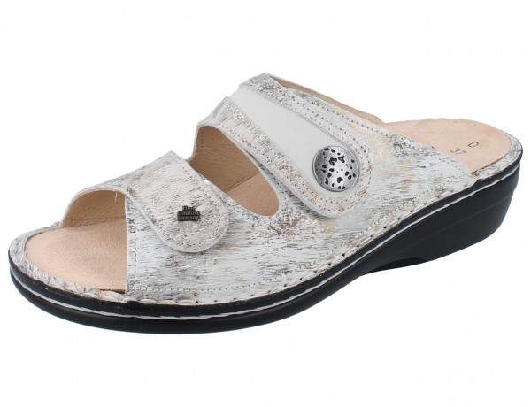FINN COMFORT Mira Soft Damen Pantolette grau/weiss stone/bianco Berna/Nubuk