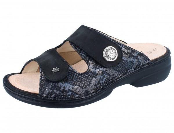 FINN COMFORT FINNSTRETCH Zeno Damen Pantolette grau grey/schwarz Pitone/Stretch
