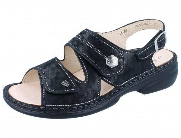 FINN COMFORT Milos Damen Sandale schwarz nero/Chenile