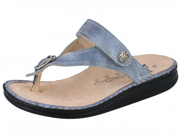 FINN COMFORT Alexandria Soft Damen Zehenstegsandale Pantolette blau jeans/Alfa