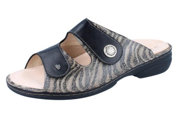 FINN COMFORT FINNSTRETCH Zeno Damen Pantolette grau grey/schwarz Zebra/Stretch