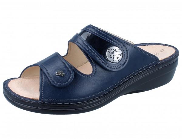 FINN COMFORT Mira Soft Damen Pantolette blau blue/atlantic Sierra/Knautschlack