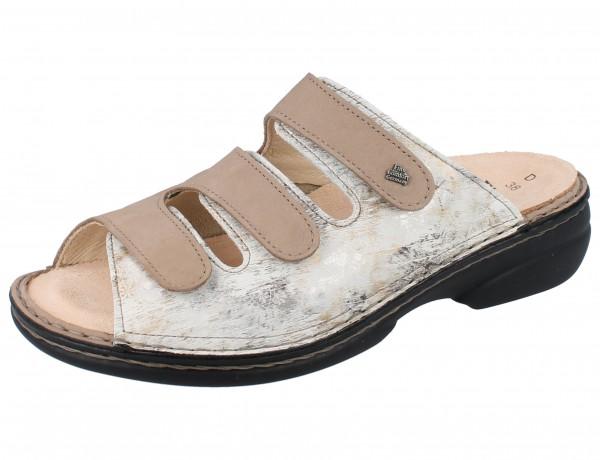 FINN COMFORT FINNSTRETCH Cisano Damen Pantolette grau stone/beige Nubuk/Stretch