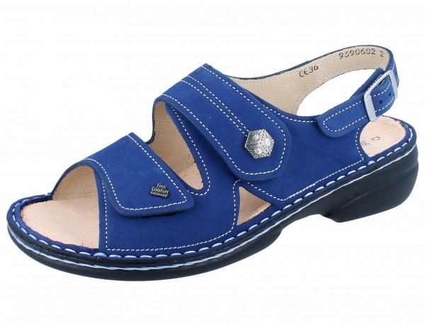 FINN COMFORT Milos Damen Sandale blau kobalt/Nubuk