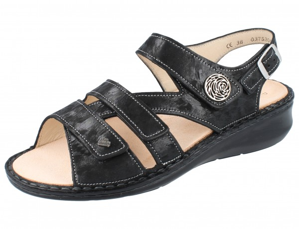 FINN COMFORT Vestone Damen Sandalen schwarz nero/Chenile