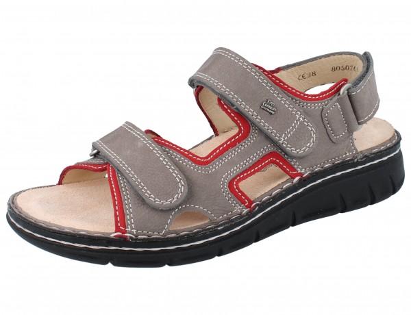 FINN COMFORT Wanaka Soft Damen Sandale grau/rot grey/sandia BearReno/Nubuk
