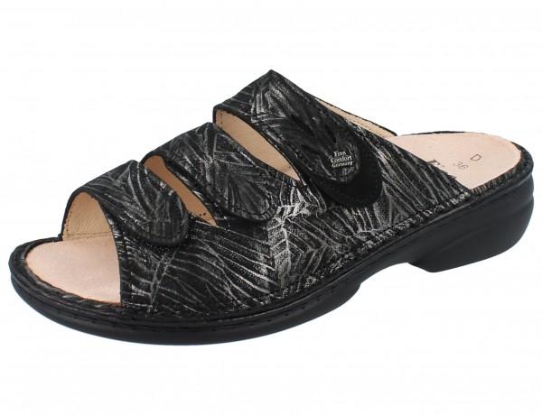 FINN COMFORT Kos Damen Pantoletten silber silver/schwarz Crumble/Nubuk