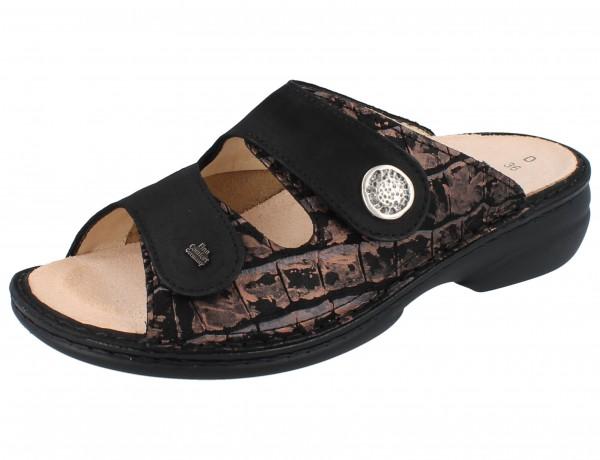 FINN COMFORT FINNSTRETCH Zeno Damen Pantolette copper/schwarz Leder/Stretch