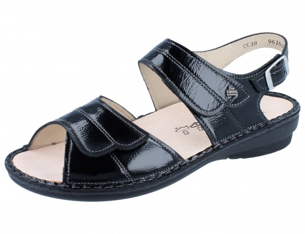 FINN COMFORT Barca Damen Sandale schwarz/Knautschlack
