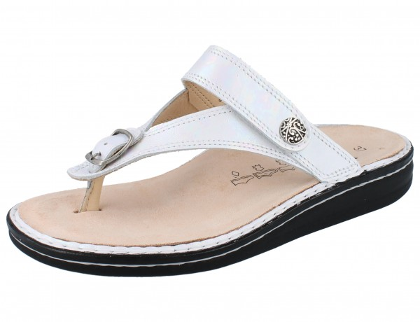 FINN COMFORT Alexandria Soft Damen Zehenstegsandale Pantolette weiss perla/Iri