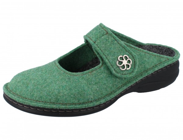 FINN COMFORT Brig Damen Clogs grün green/Wollfilz