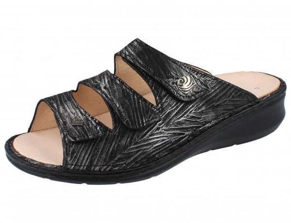 FINN COMFORT Carcina Damen Pantolette schwarz/silber silver/Crumble