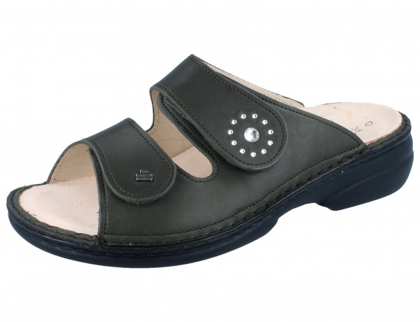 FINN COMFORT Beverly Soft Damen Pantolette grün olive/Nuri
