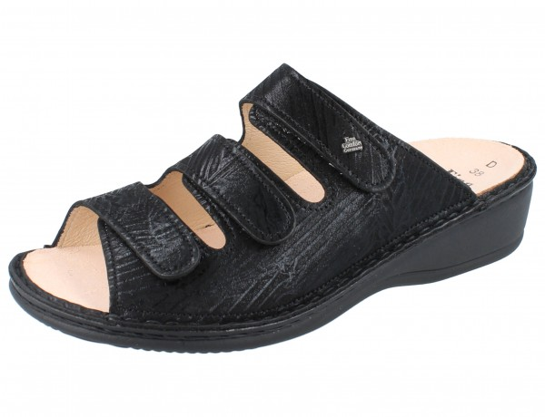 FINN COMFORT Hellas Damen Pantolette schwarz nero/Crumble