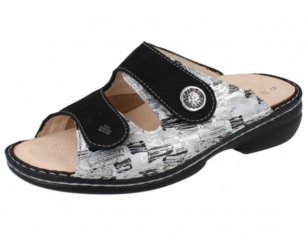 FINN COMFORT FINNSTRETCH Zeno Damen Pantolette platero/schwarz Leder/Stretch