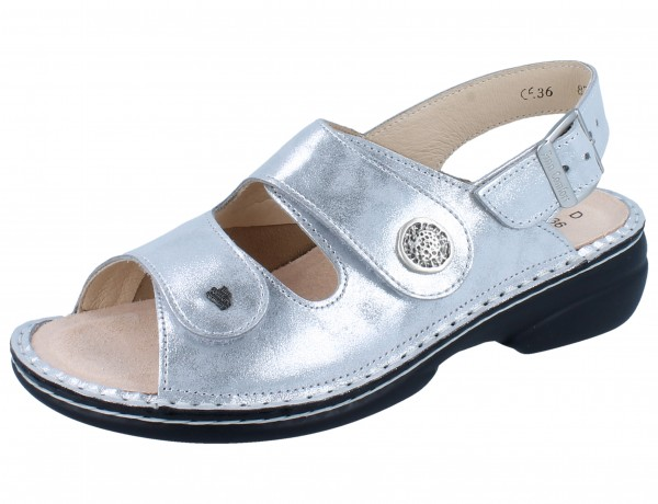 FINN COMFORT FINNSTRETCH Isera Damen Sandale silber argento Slide/Stretchpaloma
